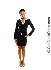 Full length of a cheerful young business woman posing over white background