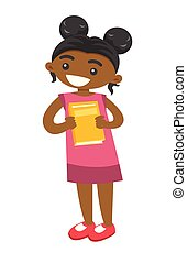 Full length of african-american girl with book.