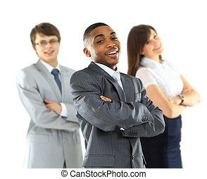 Full length of beautiful African American business man smiling with two colleagues over white background