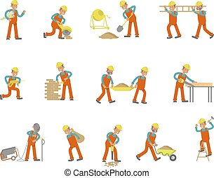 Full length of builder set. Construction Worker character in...
