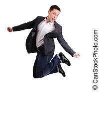 Full length of business man jumping in joy
