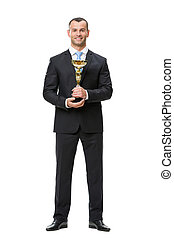 Full length of business man with cup