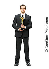 Full length of business man with gold cup