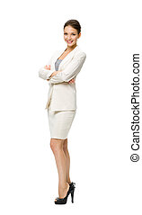 Full length of business woman with hands crossed