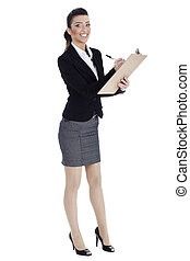 Full length of business woman writing in pad