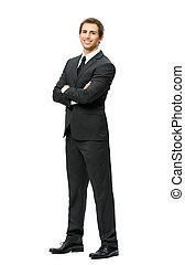 Full length of businessman with hands crossed