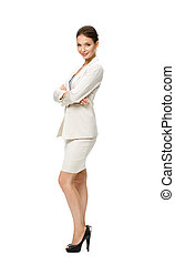Full length of businesswoman with hands crossed