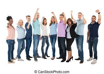 Full Length Of Creative Business Team Celebrating Success