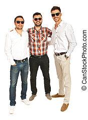 Full length of happy men friends