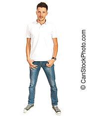Full length of man in white t-shirt