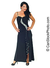 Full length of model woman in black dress - Full length of...