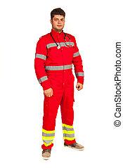 Full length of paramedic man isolated on white background