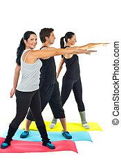 Full length of people doing fitness