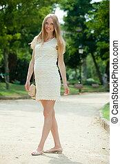 Full length of pregnant woman