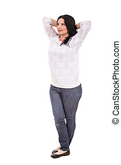 Full length of relaxed woman