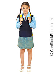 Full length of schoolgirl