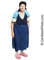 Full length of senior woman on white background