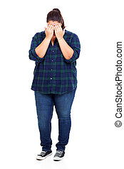 shy plus size woman - full length of shy plus size woman...