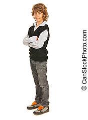 Full  length of teen blond boy