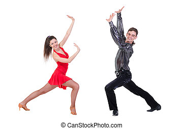 Full length of young ballet couple dancing on white...