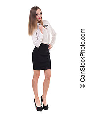 Full length of young business woman, isolated on white