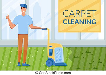 Full length of young man cleaning carpet with vacuum cleaner...