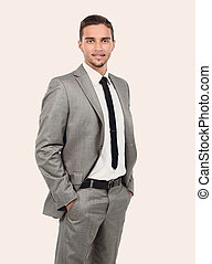 Full length of young successful manager smiling isolated on whit