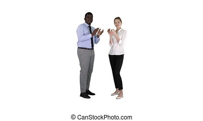 One businessman and one businesswoman applauding on white...