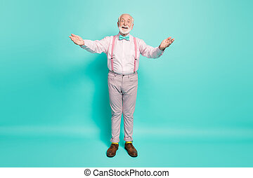 Full length photo of funny grandpa hold open arms good mood wanna hug grandchildren meeting wear pink shirt suspenders bow tie trousers isolated teal color background