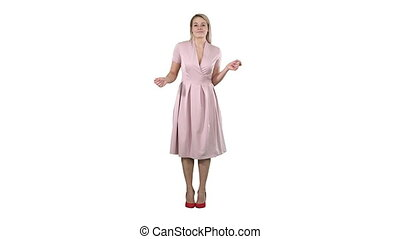 Blonde lady dancing in pink dress on white background. -...