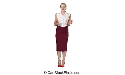 Charming female business lady talking to the camera on white background.