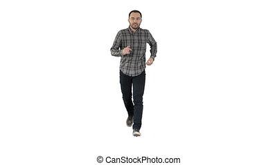 Man running on white background.