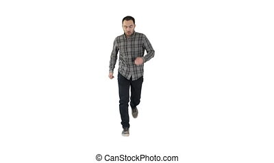 Man starting to run in casual clothes on white background. -...