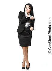 Full length portrait modern business woman