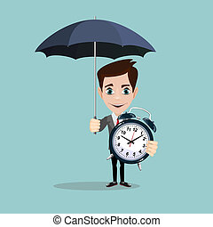 Full length portrait of a businessman standing under umbrella and keeps an alarm clock