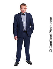 full length portrait of a casual businessman