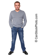 full length portrait of a casual man isolated
