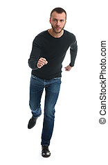 Full length portrait of a casual man running away