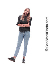 full-length portrait of a cute young woman in jeans