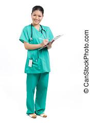 Full length Portrait of a Female Doctor