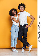 Full length portrait of a happy afro american couple