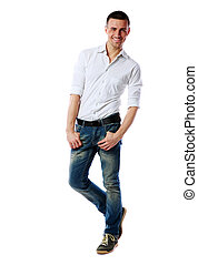 Full-length portrait of a happy man over white background