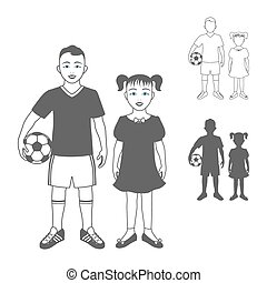 Full length portrait of a kid in sportswear holding a soccer ball and little girl,