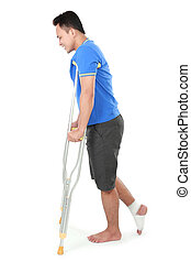 male with broken leg using crutch