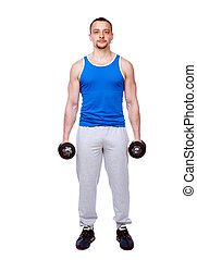 Full length portrait of a man standing with dumbbells over white background