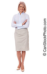 full length portrait of a middle aged business woman. Isolated on white