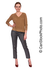 Full length portrait of a smiling casual woman