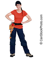 Full-length portrait of a smiling tradeswoman