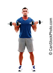 Full length portrait of a sportsman doing exercises with dumbbell