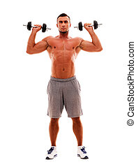 Full length portrait of a sportsman doing exercises with dumbbells
